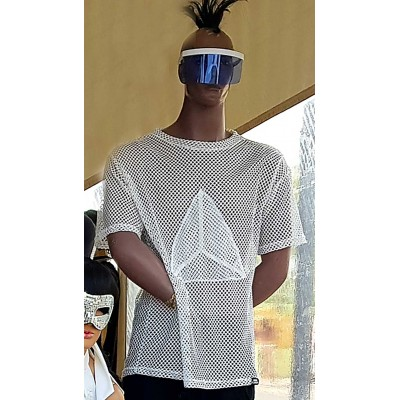 OVERSIZE MESH T-SHIRT WITH 3D TRIANGLE OVERLOADED ON THE...